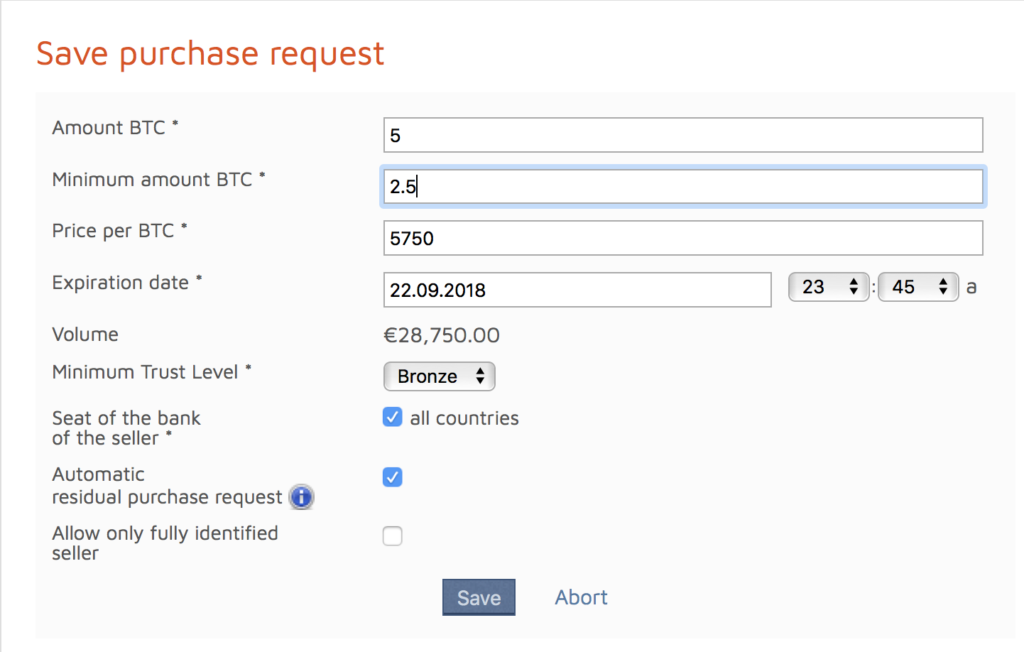 bitcoin.de save purchase request